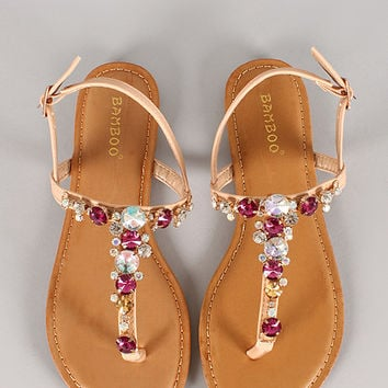Bamboo Armin-12 Multicolor Jeweled Slingback Thong Flat Sandal