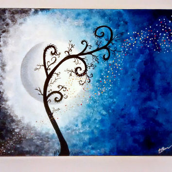 Tree and night sky painting with Blue, Silver, and Purple