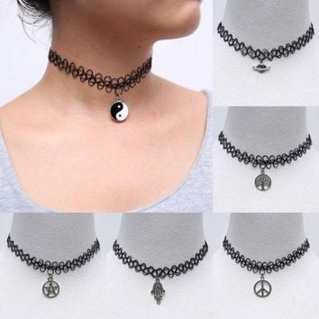 handmade fashion vintage stretch tattoo choker necklace gothic punk grunge henna elastic with pendant necklaces jewelry gift box  number 1