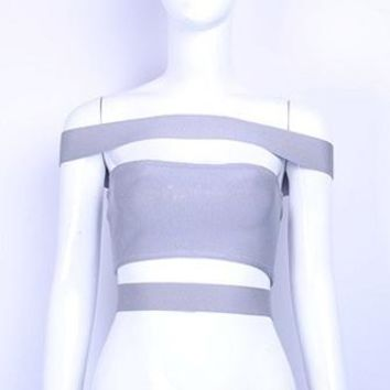 Blow Your Mind Light Grey Off The Shoulder Cut Out Bandage Crop Top