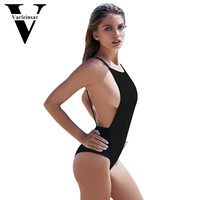 2016 New mesh splicing bodysuit Sexy Backless 1 one piece swimsuit high neck Swimming suit for Women swimwear Bathing suit V203