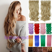 60CM Clip in Synthetic Hair Extensions Long Wavy Curly Hair One Piece 5 Clips Blonde Brown Smooth
