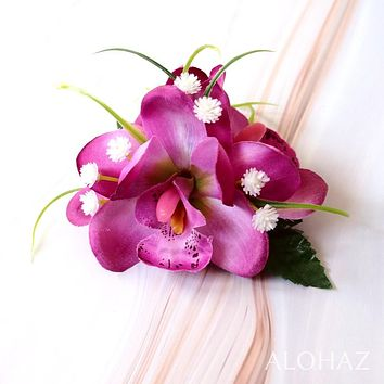 Purple Orchid Wonder Hawaiian Flower Hair Clip