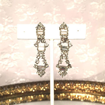 Memorial Day Sale Vintage Art Deco Rhinestone Diamond Silver Earrings Vintage Wedding Bridal Earrings