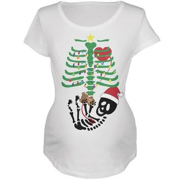 DCCKU3R Christmas Tree Baby Skeleton Bear White Maternity Soft T-Shirt