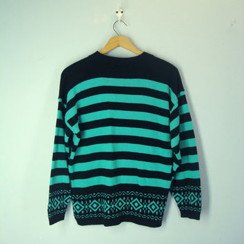Vintage 80s Southwest Sweater, Green Black Striped Sweater, Southwestern Sweater, Slouchy Sweater