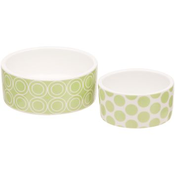 Petco Small Animal Green Ceramic Bowls