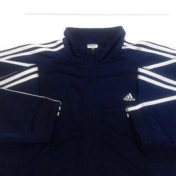 Authentic Vintage Adidas Jacket Men XL Zip-Up Navy and White Track Classic 3 Stripes R