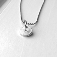 Sample Sale, Tiny Initial Necklace, Letter b Necklace, Monogram Necklace, Hand Stamped Necklace, Charm Necklace, Sterling Silver Jewelry