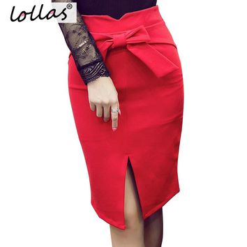 lollas Women Pencil Skirt Plus Size Autumn Winter New Fashion Knee Length High Waist Bodycon Skirt Elegant Open Slit Bow Skirt