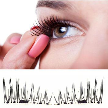 Hot Popular 4 PCS Classic 3D Magnetic False Eyelashes Extension Tools Natural Makeup Fake Magnet Eye lashes maquiagem