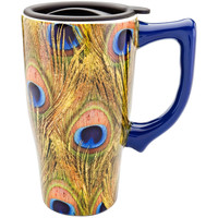 Peacock Feathers Ceramic Travel Mug