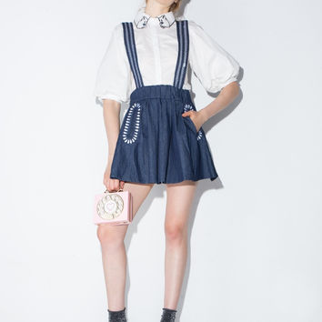 Denim Blue Straps Pocket Skirt