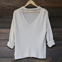 knit sweater with choker detail - silver