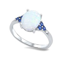 Sterling Silver Oval Created White Opal & Sim. Blue Sapphire Ring