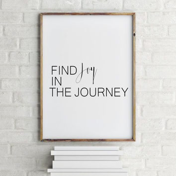 "Typography Art Print Travel Art Print Mountain Art Print Travel PRINTABLE Art ""Find Joy in The Journey"" Wall Art Travel Wall Art Home Decor"