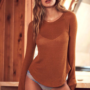 Out From Under Sheer Thermal Long Sleeve Crew Top - Urban Outfitters