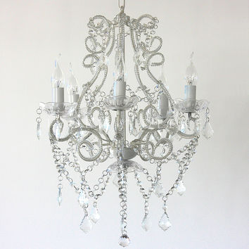 Shabby French 5 Light Glass Crystal Chandelier