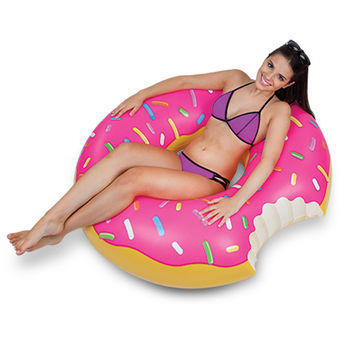 Gigantic Strawberry Donut Pool Float