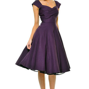 STOP STARING! MAD MEN Eggplant Pleated Bodice Cap Sleeve Swing Dress - Unique Vintage - Cocktail, Evening & Pinup Dresses