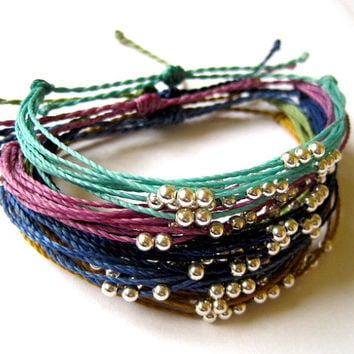 Silver Beaded Bracelet on Waxed Polyester Cord: Choose Color