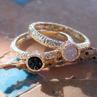 Black And White Druzy Rings - 18k Yellow Gold Plated Round Ring - Double Hammered Ring