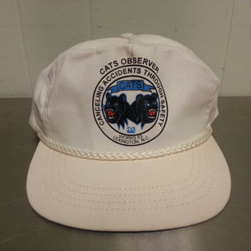Vintage PPG CATS Observer Canceling Accidents Through Safety Black Panthers Kitty White Snapback Trucker Hat Dad Hat