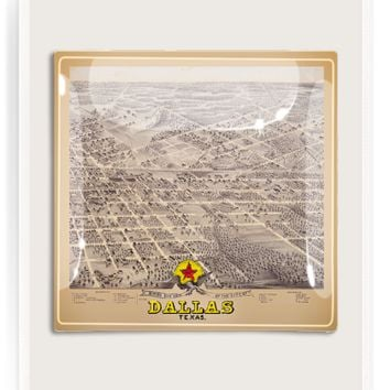 Vintage Dallas, Texas City Map Decoupage Glass Tray