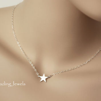 Star Necklace, Emma Watson Celebrity Inspired Cross, Perks of Being a Wallflower, Sterling Silver, Small Star, Dainty, Hollywood, Popular