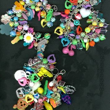 Love and Cherries Rainbow kitsch jewelry plastic by JunqueJules