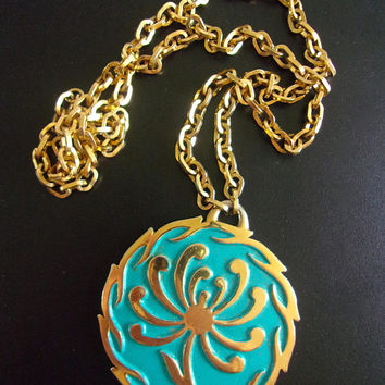 CROWN TRIFARI Turquoise Enamel Medallion Necklace, Floral Gold Tone Abstract, Vintage