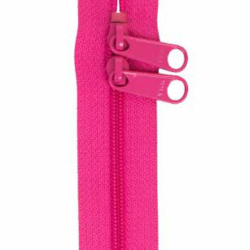 Two Pull Handbag Zipper #4.5 YKK 30 inches Raspberry Pink Extra Wide Tape Extra Long Pulls