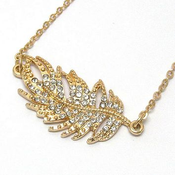 Gold and Crystal Leaf Pendant Necklace