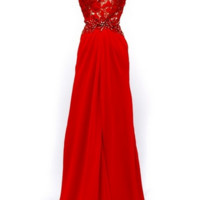 KC131534 Red Cap Sleeve Formal Dress by Kari Chang Couture