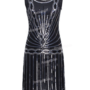 PrettyGuide Women 1920s Vintage Art Deco Sequin Inspired Great Gatsby Flapper Cocktail Party Dress
