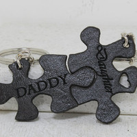 Daddy and Daughter Pieces Interlocking Key chains Leather