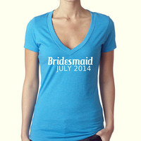Bridesmaid - Turquoise V Neck - Wedding Party - Women's T Shirt