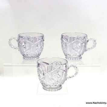 1930s Punch Cups Pressed Pattern Glass, Set of 3