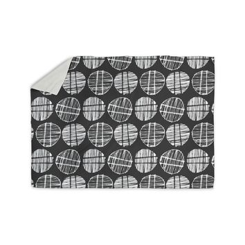"Gill Eggleston ""Sketched Pods Carbon"" Black White Abstract Modern Digital Vector Sherpa Blanket"