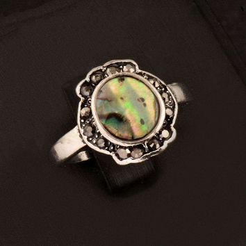 Scalloped Abalone Shell and Black Crystal Vintage Silver Ring