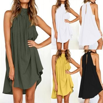 Maikun New Brand Fashion Sexy Pleated Cotton Round-collar Sleeveless Pure Color Long Dress for Women four color five size