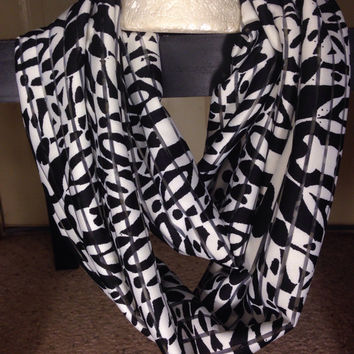 Shadow Stripe-Floral Print-Infinity Scarf-Flower Print-Accessories-Black and White-Scarf-Birthday Gift-Handmade Scarf-Fall Scarf-Fashion