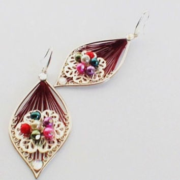 Long Dangle Drop Earrings. Burgundy Silk Background. Silver Tone Flower. Small Seed Beads. Diamond Effect Beading.925 Sterling Silver Posts