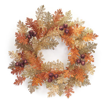 Falling Leaves Collection Glittered Oak Wreath
