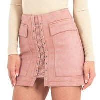 Suede Front Cross Lace up Skirt