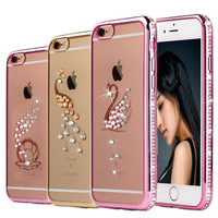 Tomkas Bling Rhinestone Owl Diamond TPU Case For iPhone 5 5S SE 6 6S 4.7 Plus 5.5 Soft Silicone Coque Cover For iPhone 5 6 Plus