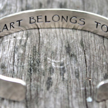 Couples Jewelry: My Heart Belongs To You, Inspirational Hand Stamped Bracelet Bangle Cuff