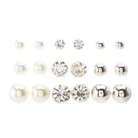 Silver Pearl & Rhinestone Stud Earrings - 9 Pack by Charlotte Russe