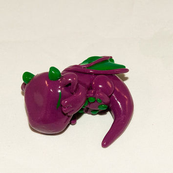 Sleeping Baby Dragon - Purple and Green Polymer Clay Sculpture