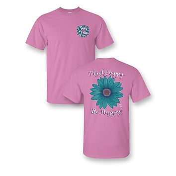 Sassy Frass Think Happy Be Happy Flower Comfort Colors Bright Girlie T Shirt